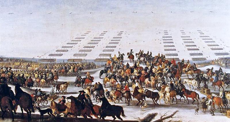 De svenske tropper går over isen fra Langeland